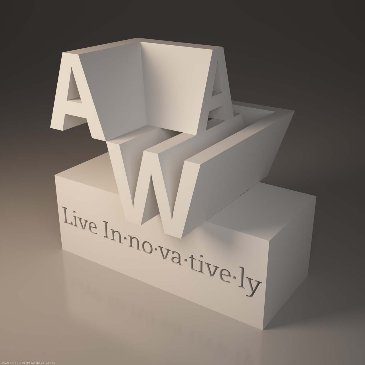 3d printed, 3d printer, 3d Logo, typography, architecture, award, trophy