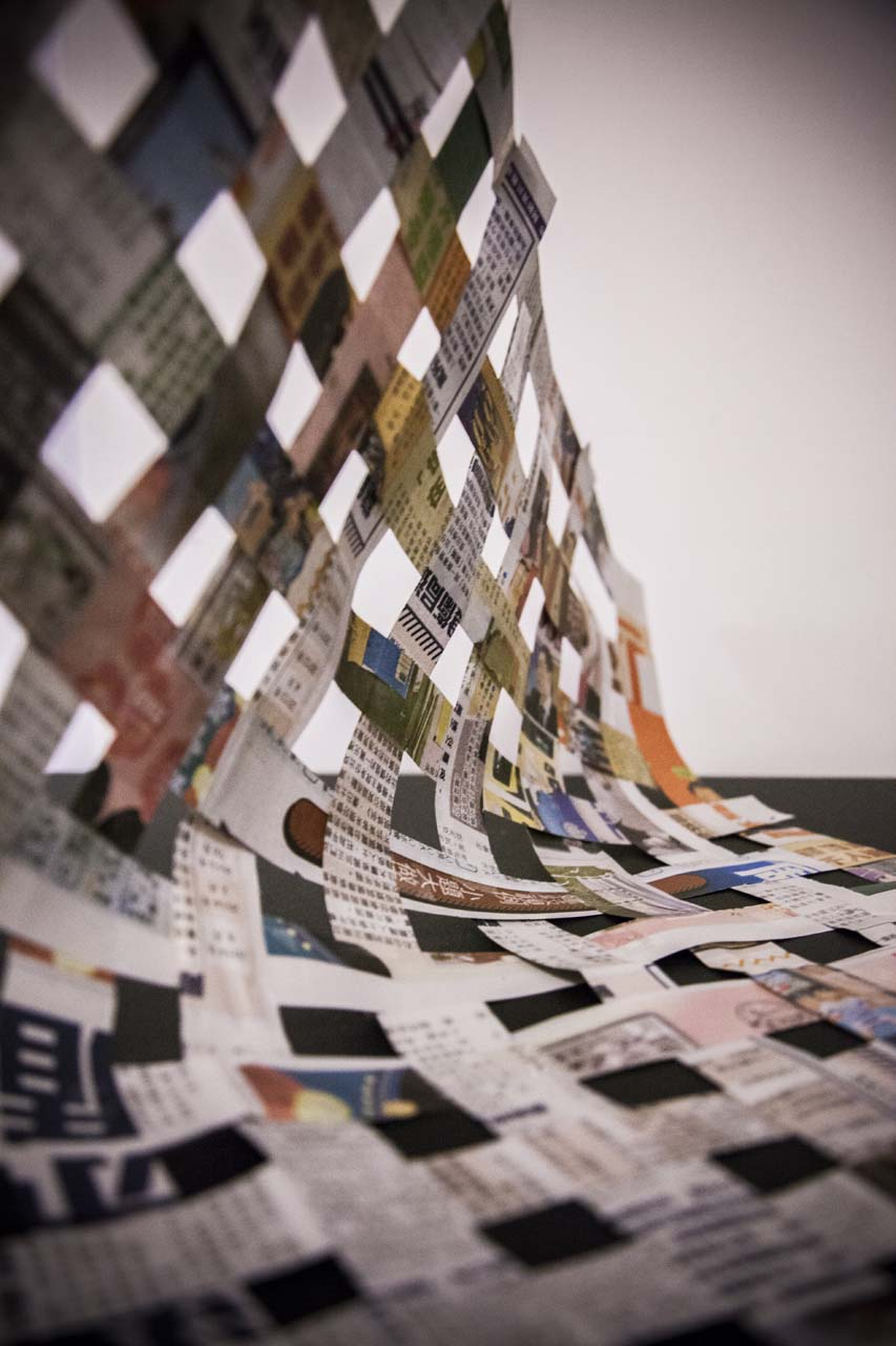 Newspaper Art, quilt, recylced, information, 東方日報, 報紙