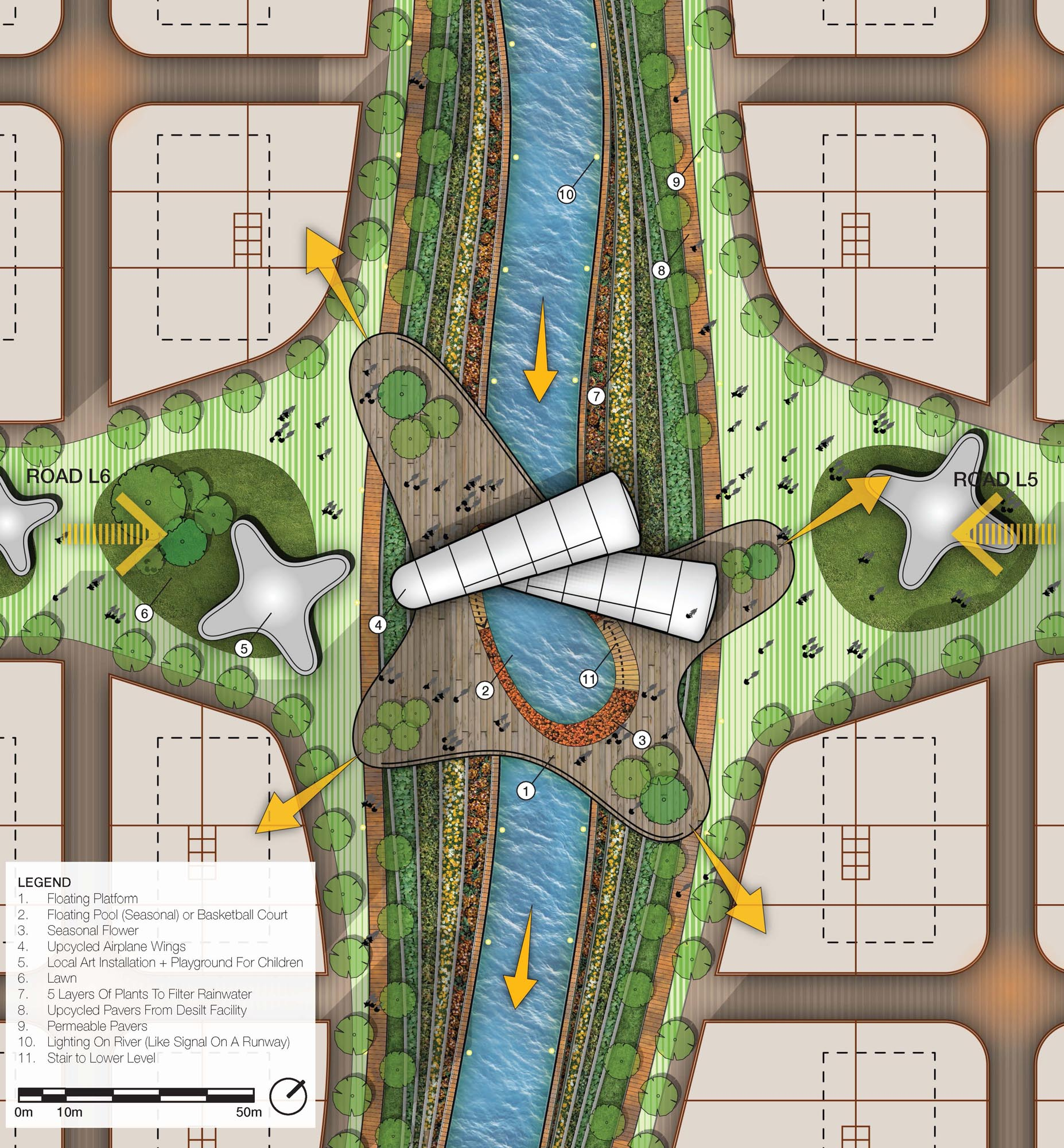 kai tak river, upcycle, urban planning, riverfront, waterfront, park