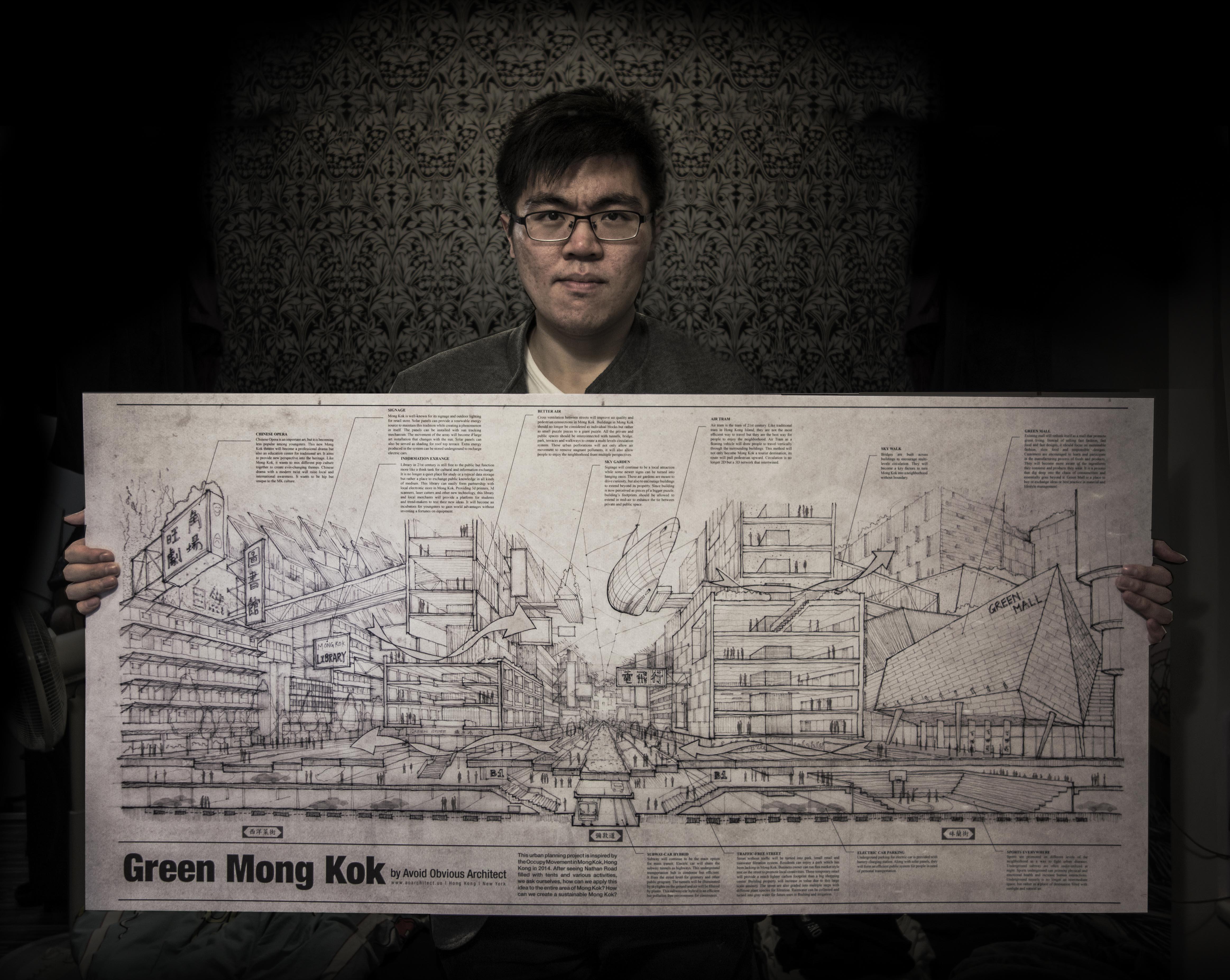 Hong Kong, Occupy Movement, Mong Kok, Urban Planning, Flying Cars, cross ventilation, solar panels, green mall, park, urban landscape