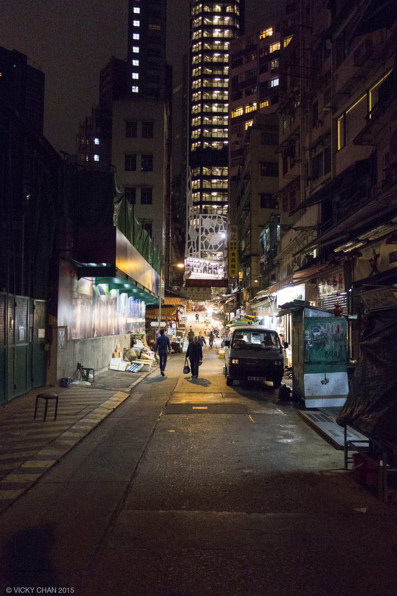 Hong Kong Soho, night, street lighting, Cage Street, Peel Street, Elgin Street, Hollywood Road, PMQ