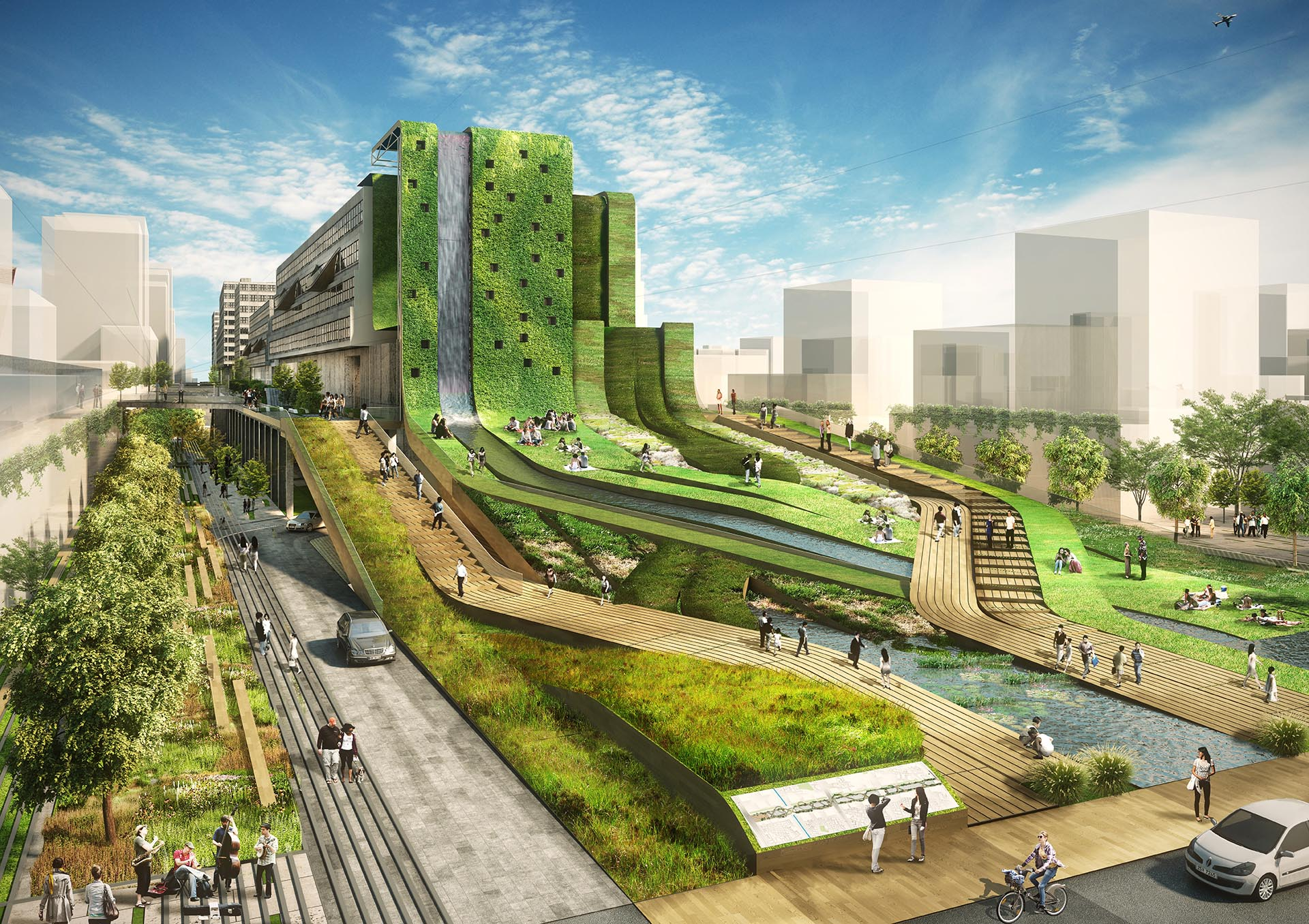 Seun, high line in Korea, 3d print landscape, urban planning, retrofit, factory rehab, seoul, greenwalk, elevated park, sustainable design, architecture, hipster, business evolution