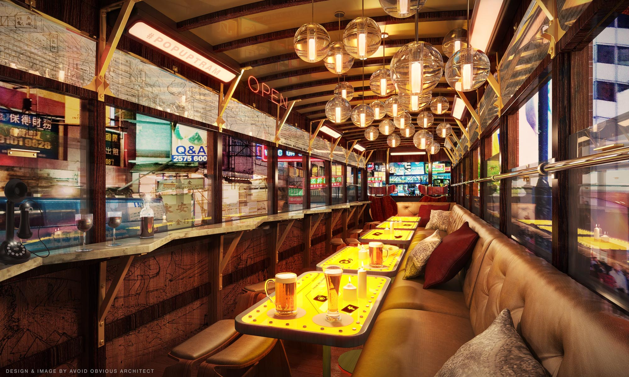 tram, tramways, hong kong, avoid obvious, popup, pop up, mobile architecture, restaurant, shop, runways, interior design, vintage, contextual, old, new, history, preservation, revitalization