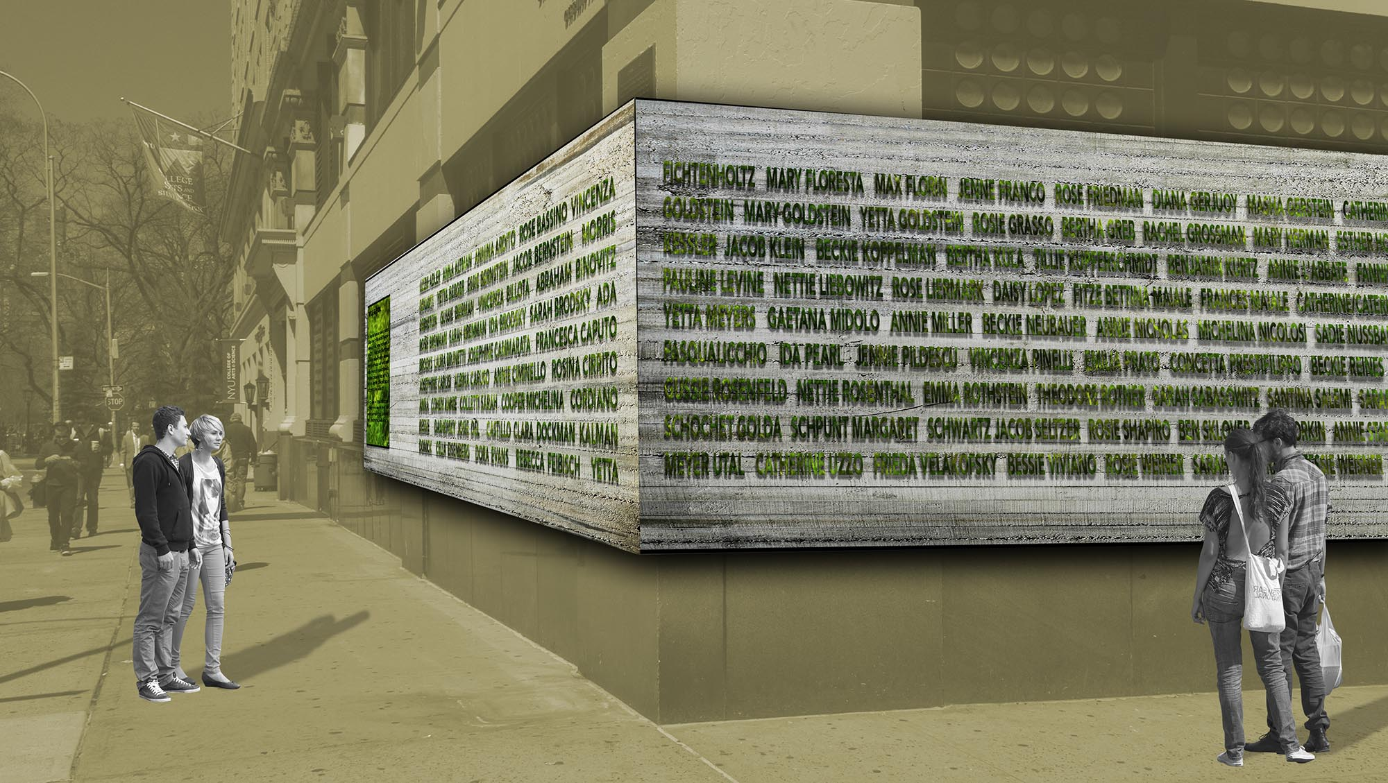greenwall, green, vertical, planting, platns, moss, text, 3d, greenscape, landscape, triangle fire, boardway, NYU, brown building, avoid obvious