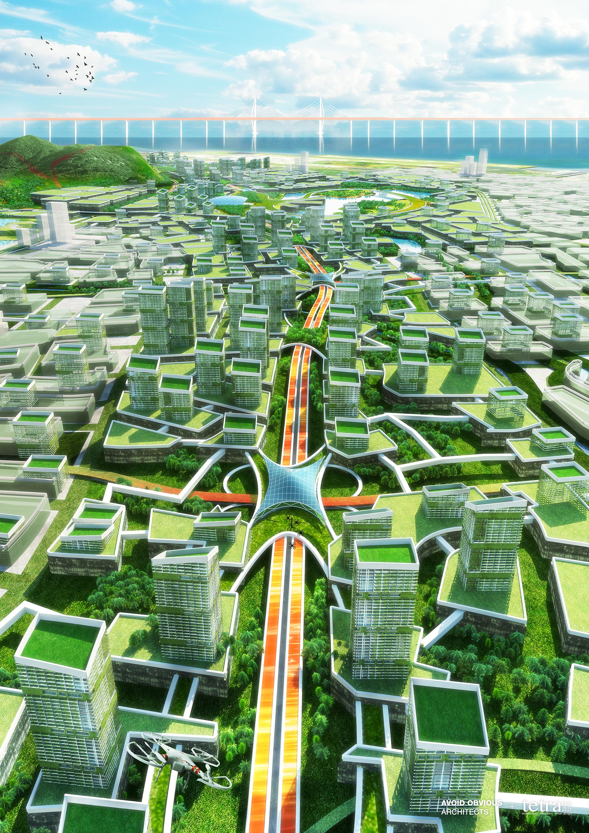 G107, Bao'an, Shenzhen, masterplan, city planning, sustainable, green, manufacturing, avoid obvious, tetra, architecture, planners, architects, aoarchitect, tetra-arch, connections, drone, highway, future, futuristic, carbon zero, carbon neutral, china, hong kong, pearl river delta, Baoan, autopilot, driverless, high speed, transit, multimodal, connections, sharing economy, co-working, shared, amenities, natural, nature, road, infrastructure, water cycle, water management, landscape, design, branding, engineering, marketing, drone-view, aerial, airport