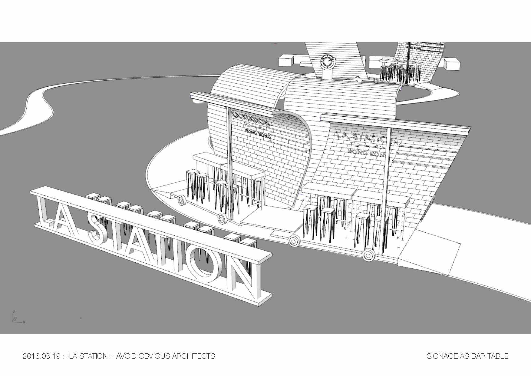 mobile, bar, cafe, avoid obvious, la station, coffee, module, architecture, train, kit of part, hilton, hotel, vicky chan, architects