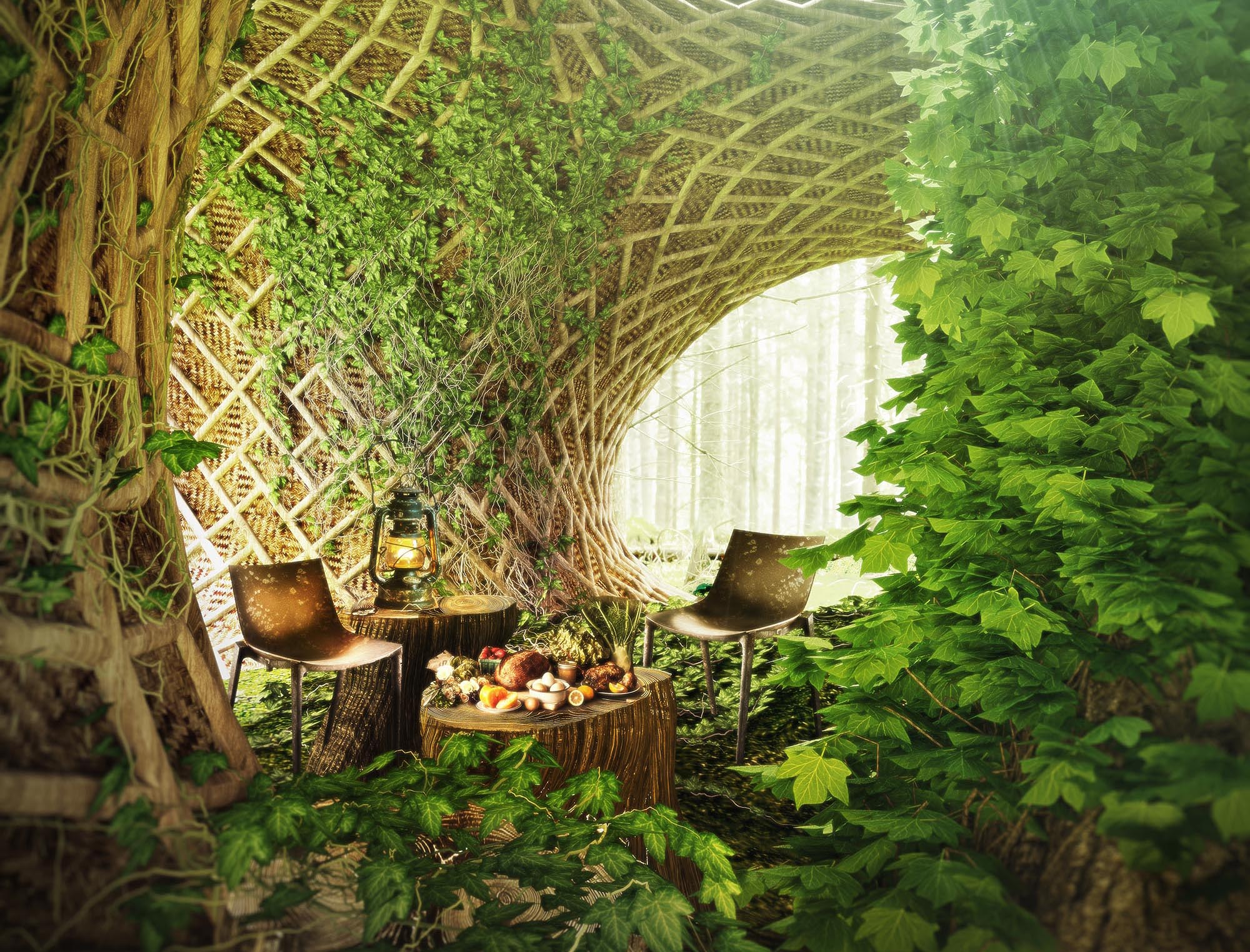 sustainable, architecture, life cycle, material, smart, living, organism, coffee, 3d printing, avoid obvious, masterplan, green, futuristic, ecological, future, bamboo, trees, plants, wood, nature, learning, center