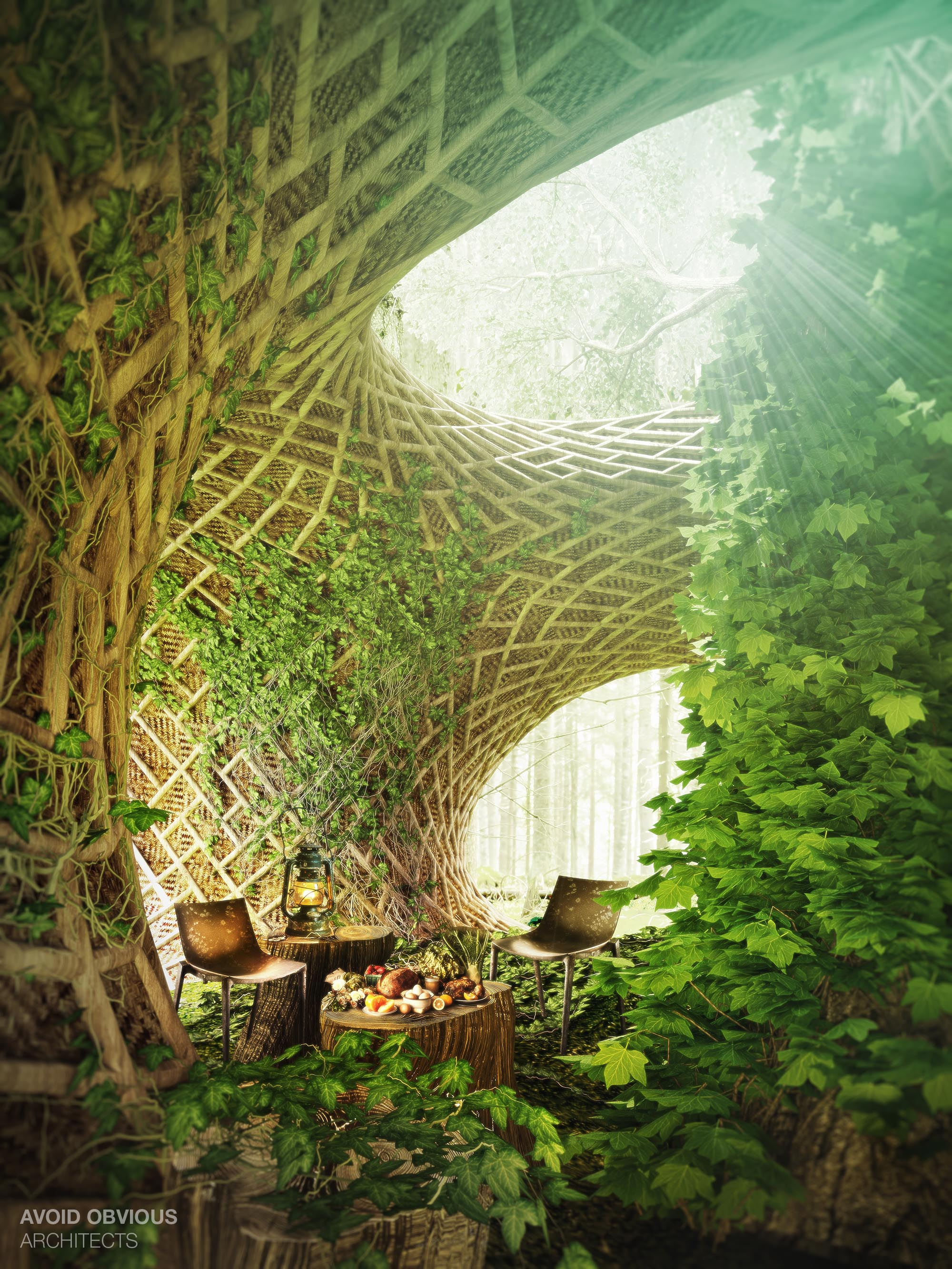 circle interior architecture nature living avoid future futuristic obvious sustainable ecological 3d plants center trees bamboo cycle architects wood learning