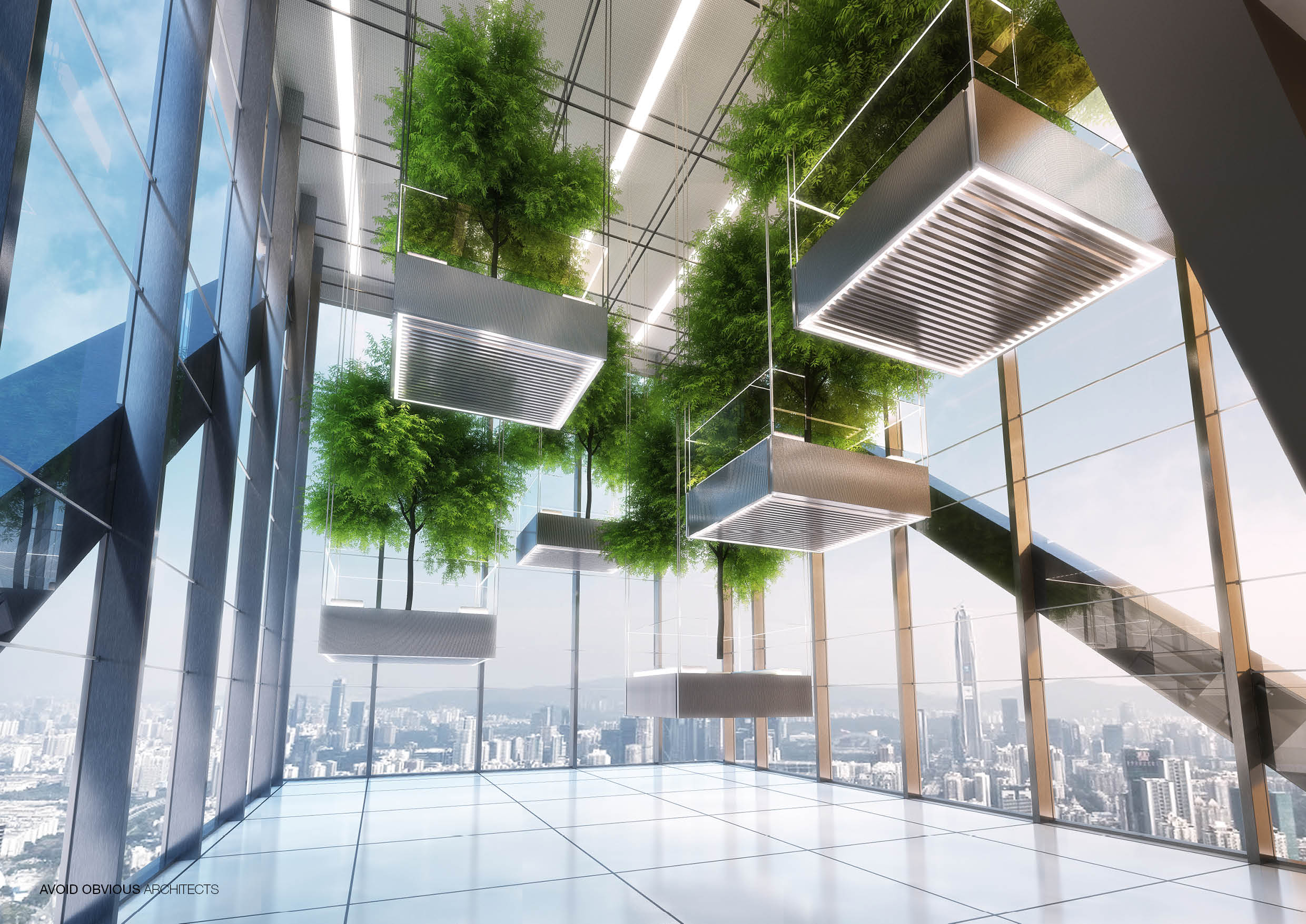 The cloud, Office, Sustainable, customizable, flexible, workplace, future, architecture, interior, design, green, plants, indoors, avoid obvious, aoa, aoarchitect, aviation, air, flying, airline, lobby, exhibition, 2020, garden, fly
