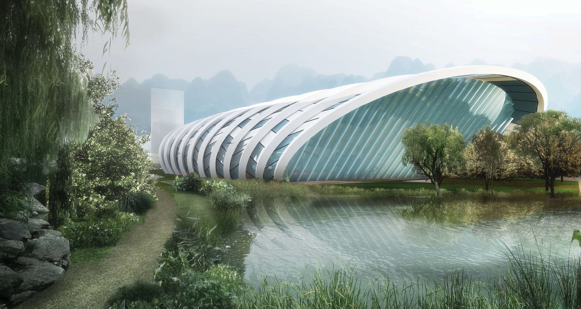 sport center, guiyang, hmong, sustainable, stadium, grand stand, green, landscape. active, avoid obvious, architects, architecture,