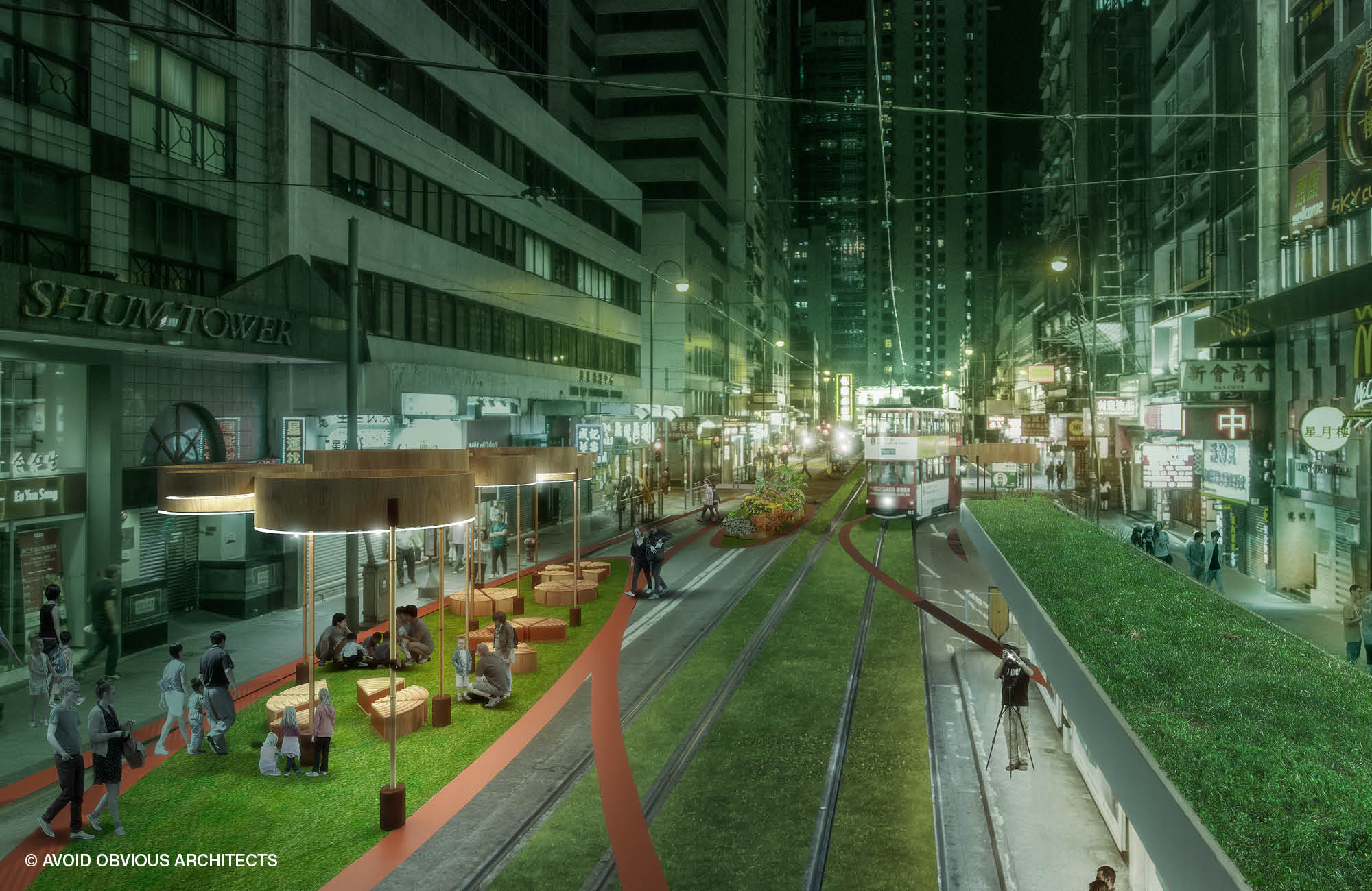 future, city, pedestrization, walk dvrc, hong kong, central, architect, urban, planning, design, landscape, avoid obvious, vicky chan, sustainable, innovative, inclusive, walkable, road, park, plants, bamboo, pavilion