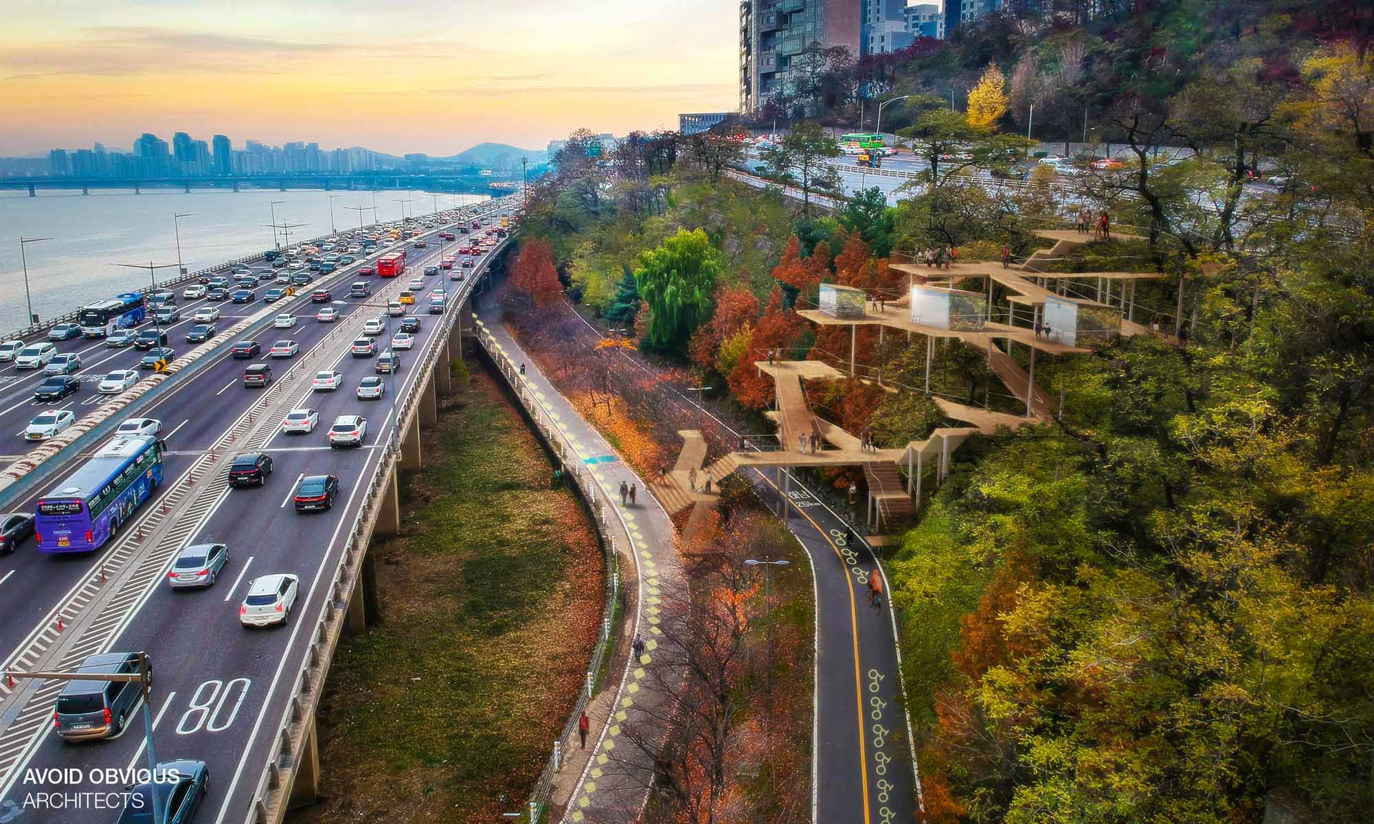 inclusive, network, hangang, river, park, interface, landscape, green, affordable, waterfront, riverfront, nature, ramp, architecture, city, planning, urban, sustainable, avoid obvious, architects, architecture, seoul, south korea, korea, design, idea