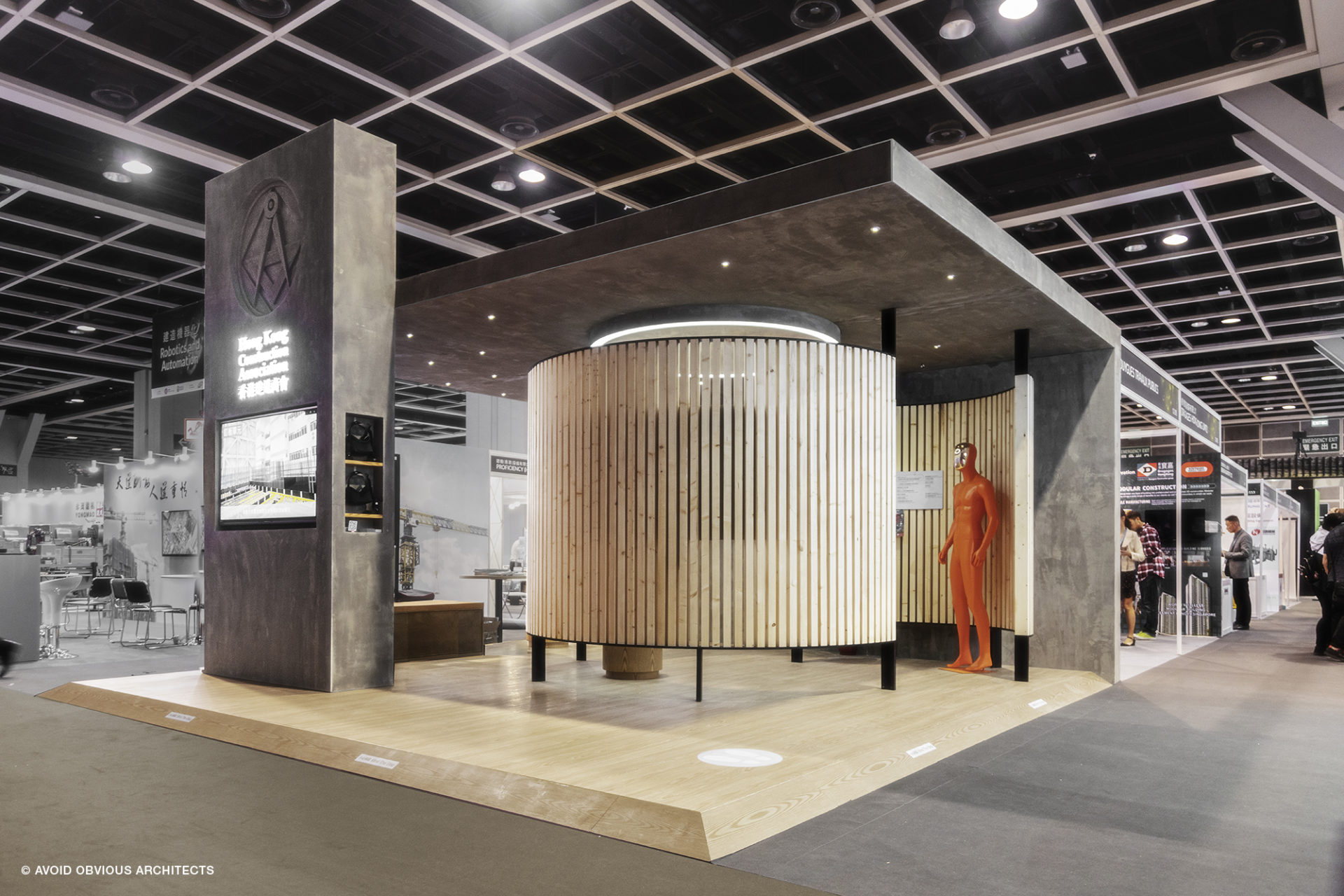 HKAC, avoid obvious, architects, aoa,, vicky chan, designer, wood, mobile, booth, exhibition, construction safety, hong kong, Construction association, Convention, wood fin, concrete, 100 years old